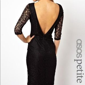 NWT ASOS PETITE Black Lace Open Back Mini Dress